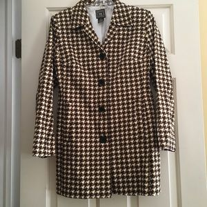 Vintage Printed Check Brown Cream Top Coat 6P